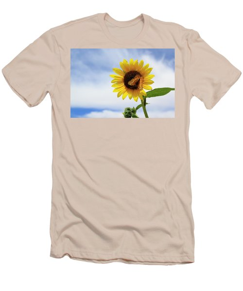 Butterfly On A Sunflower Men's T-Shirt (Athletic Fit)
