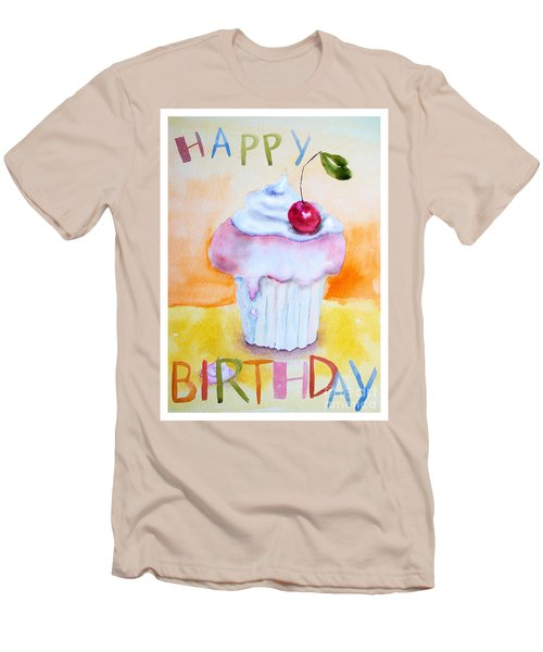 Cake With Insription Happy Birthday Men's T-Shirt (Athletic Fit)