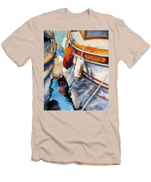 Men's T-Shirt (Slim Fit) featuring the painting Cassis Castaways by Rae Andrews