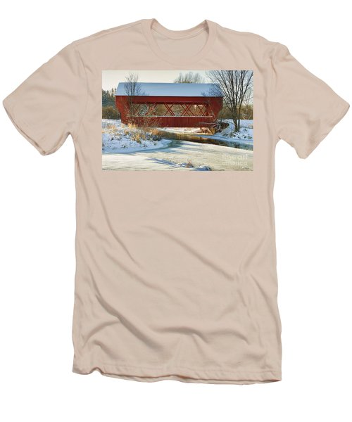Men's T-Shirt (Slim Fit) featuring the photograph Covered Bridge by Eunice Gibb