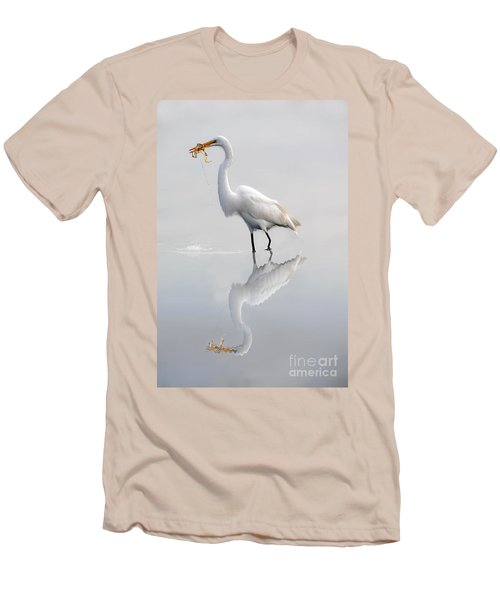 Men's T-Shirt (Slim Fit) featuring the photograph Egret Eating Lunch by Dan Friend
