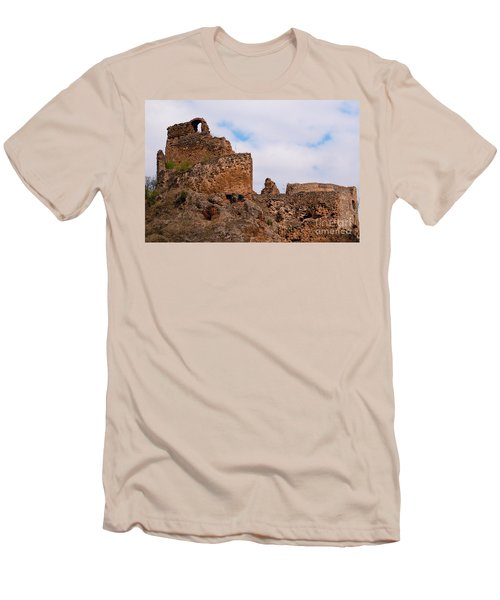 Men's T-Shirt (Slim Fit) featuring the photograph Filakovo Hrad - Castle by Les Palenik