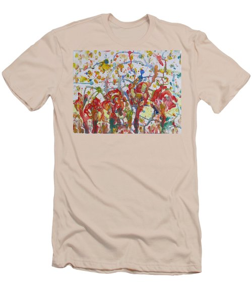 Men's T-Shirt (Slim Fit) featuring the painting Floral Feel by Sonali Gangane