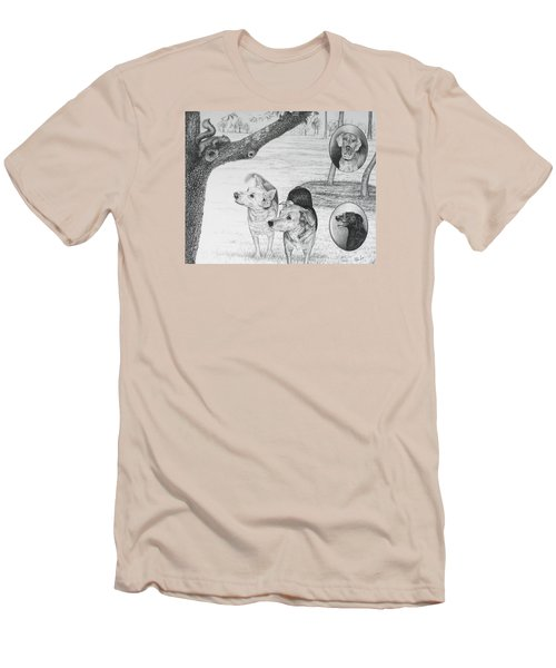 Four Dogs And A Squirrel Men's T-Shirt (Slim Fit) by Mike Ivey
