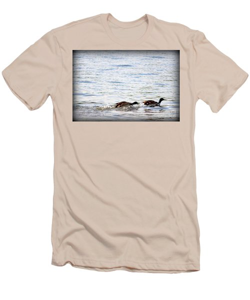 Men's T-Shirt (Slim Fit) featuring the photograph Frolicking Fun by Kathy  White