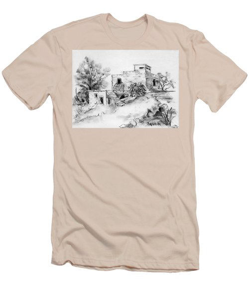 Hirbe Landscape In Afek Black And White Old Building Ruins Trees Bricks And Stairs Men's T-Shirt (Slim Fit) by Rachel Hershkovitz