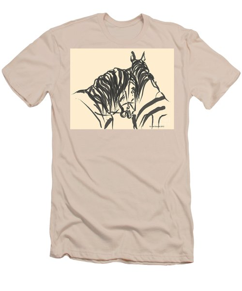 Men's T-Shirt (Slim Fit) featuring the painting Horse - Together 9 by Go Van Kampen