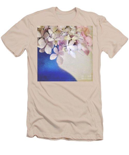 Hydrangeas In Deep Blue Vase Men's T-Shirt (Slim Fit) by Lyn Randle