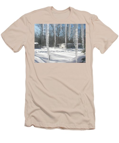 Men's T-Shirt (Slim Fit) featuring the photograph Icicles Through The Window Glass by Pamela Hyde Wilson