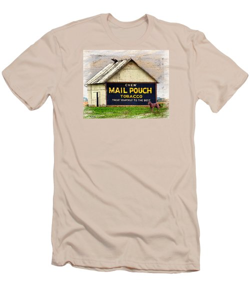 Men's T-Shirt (Slim Fit) featuring the digital art Mail Pouch Barn by Mary Almond