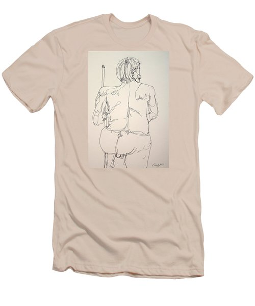 The Naked Man Hiking Men's T-Shirt (Slim Fit) by Rand Swift