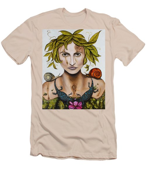 Mother Nature With Contrast Men's T-Shirt (Athletic Fit)