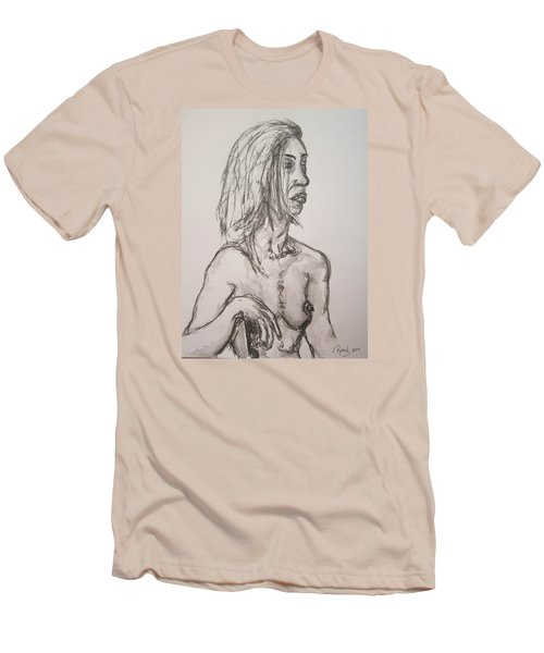 Nude In Washed Graphite Men's T-Shirt (Slim Fit) by Rand Swift