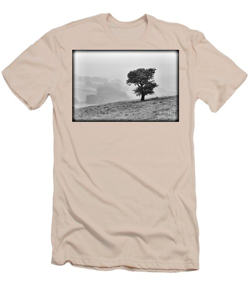 Men's T-Shirt (Slim Fit) featuring the photograph Oak Tree In The Mist. by Clare Bambers