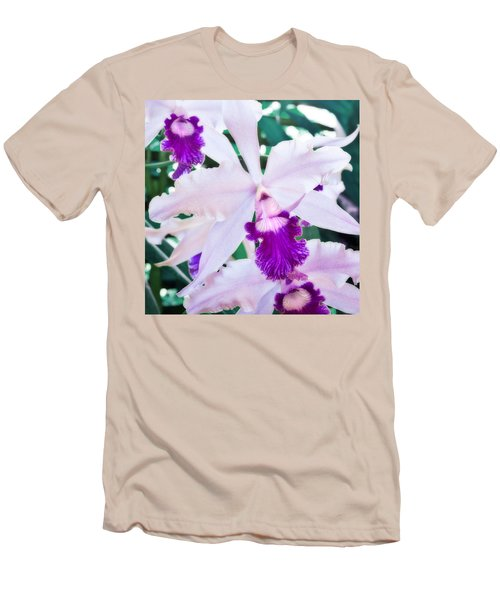 Men's T-Shirt (Slim Fit) featuring the photograph Orchids White And Purple by Steven Sparks