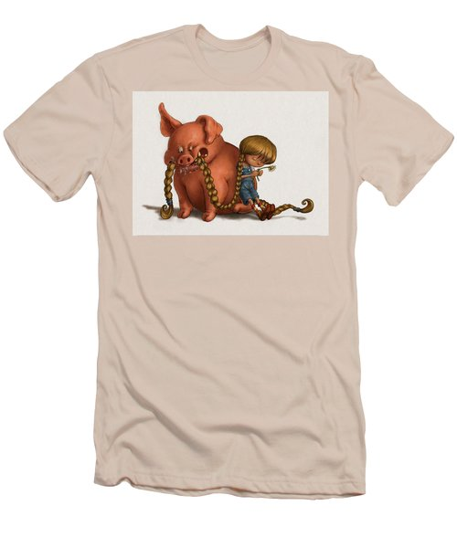 Pig Tales Chomp Men's T-Shirt (Slim Fit) by Andy Catling