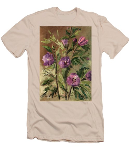 Purple Flowers 2 Men's T-Shirt (Slim Fit) by Rachel Hershkovitz