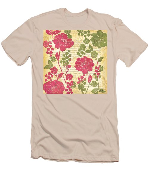 Raspberry Sorbet Floral 1 Men's T-Shirt (Slim Fit) by Debbie DeWitt