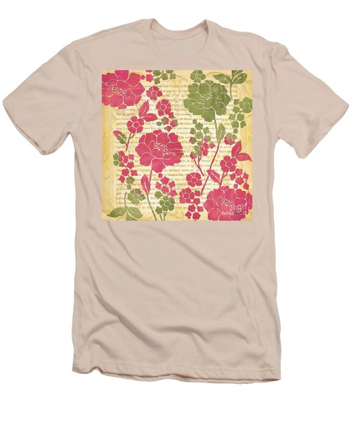 Raspberry Sorbet Floral 2 Men's T-Shirt (Slim Fit) by Debbie DeWitt