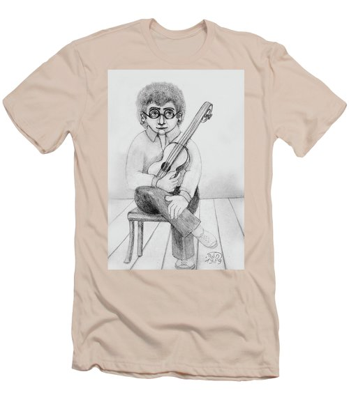 Russian Guitarist Black And White Art Eyeglasses Long Curly Hair Tie Chin Shirt Trousers Shoes Chair Men's T-Shirt (Slim Fit) by Rachel Hershkovitz