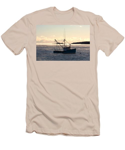 Men's T-Shirt (Slim Fit) featuring the photograph Sea-smoke On The Harbor by Brent L Ander