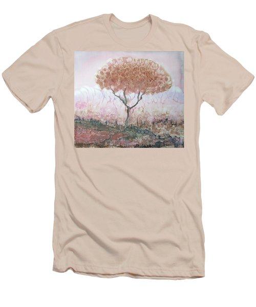 Silk Tree In Brown And Purple  Men's T-Shirt (Slim Fit) by Rachel Hershkovitz