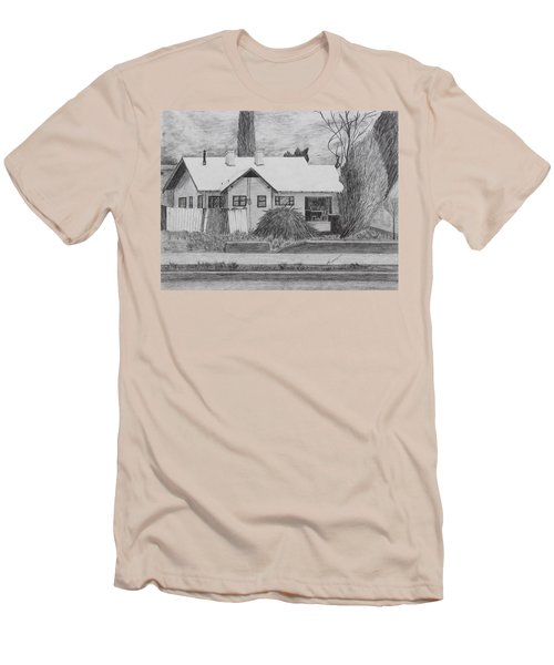 Men's T-Shirt (Slim Fit) featuring the drawing The House Across by Kume Bryant