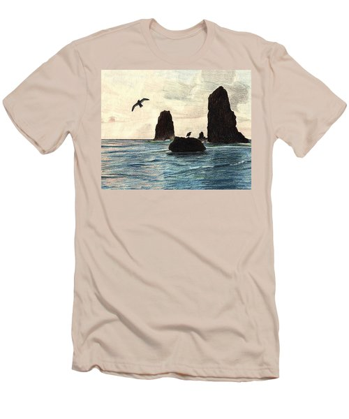 Men's T-Shirt (Slim Fit) featuring the drawing The Needles by Wendy McKennon