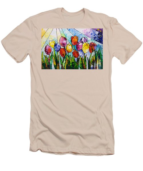 Tulips On Parade Men's T-Shirt (Slim Fit) by Sally Trace