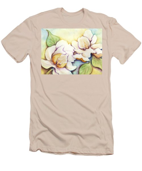 Men's T-Shirt (Slim Fit) featuring the painting Two Magnolia Blossoms by Carla Parris