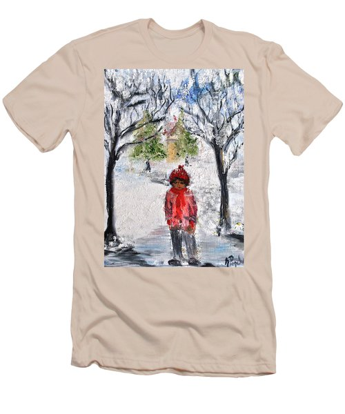 Men's T-Shirt (Slim Fit) featuring the painting Walking Alone by Evelina Popilian