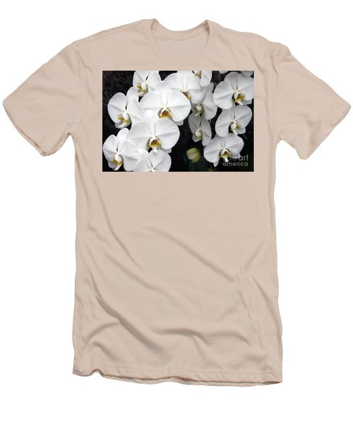 Men's T-Shirt (Slim Fit) featuring the photograph White Orchids by Debbie Hart