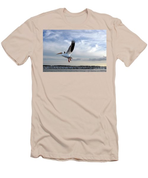 Men's T-Shirt (Slim Fit) featuring the photograph White Pelican Flying Over Island by Dan Friend