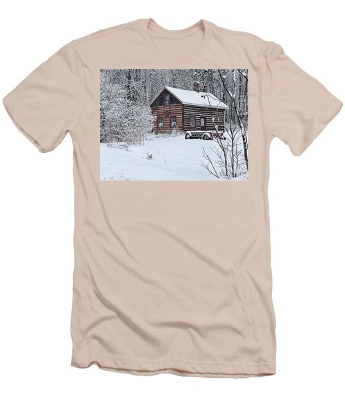 Men's T-Shirt (Slim Fit) featuring the photograph Winter Cabin by Judy  Johnson