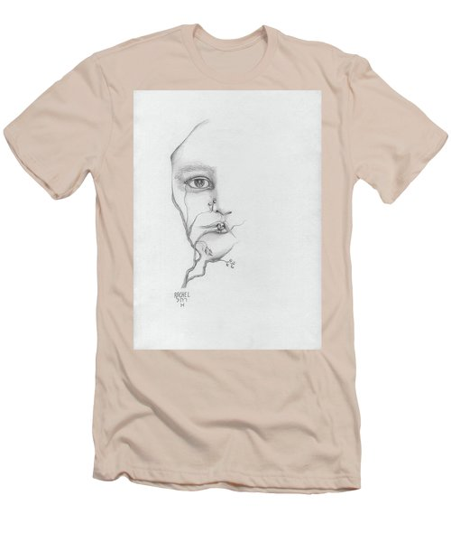 Woman Face Growing Out Of A Tree Branch Black And White Surrealistic Fantasy  Men's T-Shirt (Slim Fit) by Rachel Hershkovitz