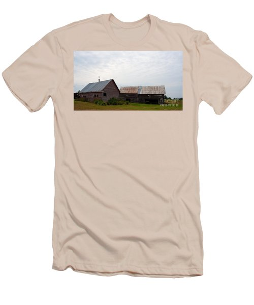 Men's T-Shirt (Slim Fit) featuring the photograph Wood And Log Sheds by Barbara McMahon