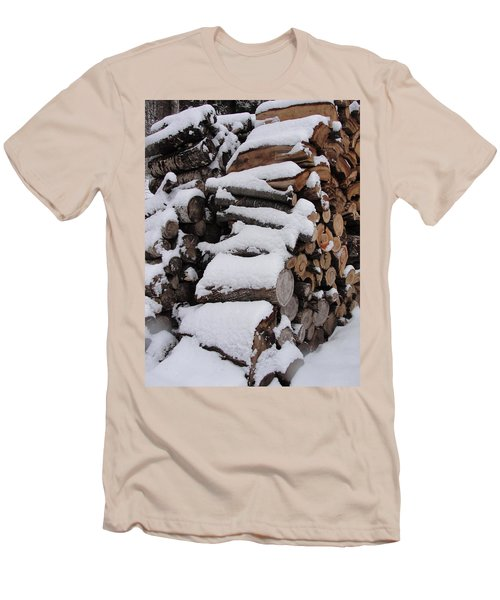 Men's T-Shirt (Slim Fit) featuring the photograph Wood Pile by Tiffany Erdman