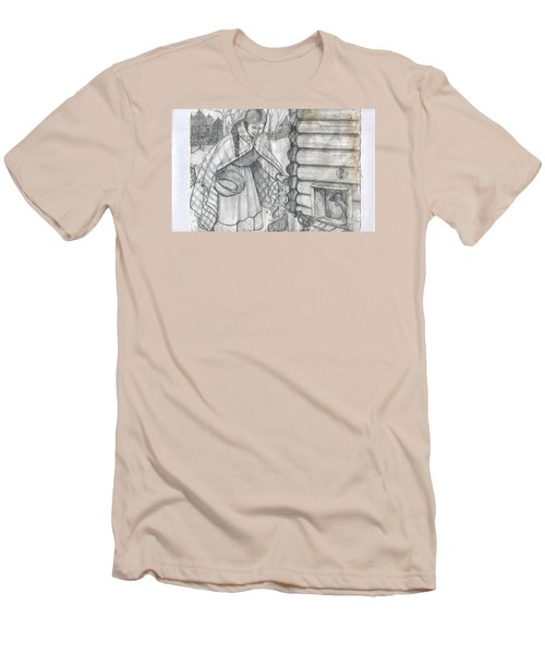 Young Girl Feeding The Chickens In The 1800's Men's T-Shirt (Slim Fit) by Francine Heykoop