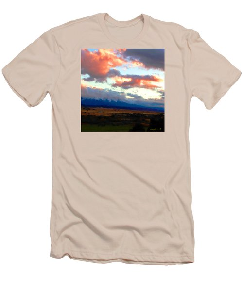 Sunset Clouds Over Spanish Peaks Men's T-Shirt (Slim Fit) by Anastasia Savage Ealy