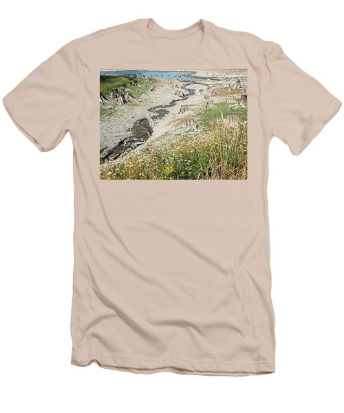 Men's T-Shirt (Slim Fit) featuring the photograph Alder Lake Stumps by Joseph Hendrix