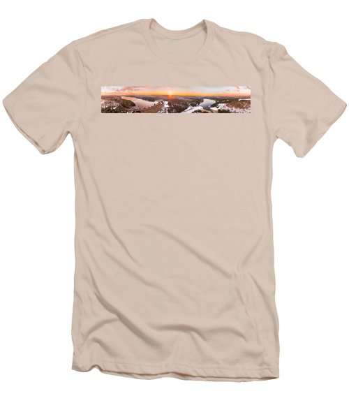 Men's T-Shirt (Slim Fit) featuring the photograph Barkhamsted Reservoir And Saville Dam In Connecticut, Sunrise Panorama by Petr Hejl