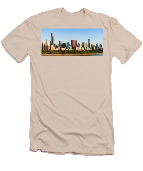 Chicago Downtown At Sunrise Men's T-Shirt (Slim Fit) by Semmick Photo