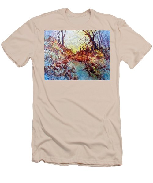 Men's T-Shirt (Slim Fit) featuring the painting Forgotten Fence by Carolyn Rosenberger