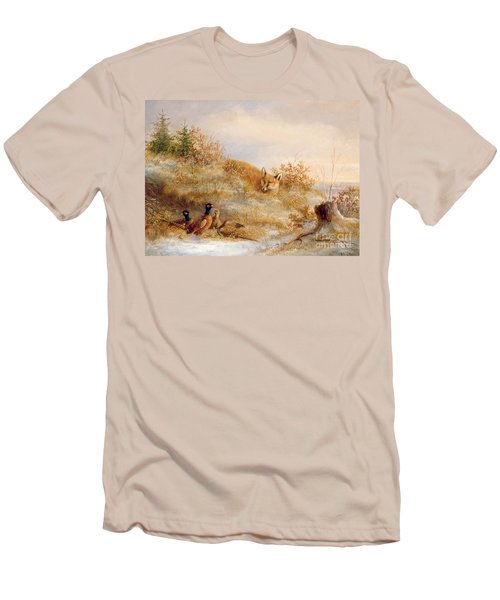 Fox And Pheasants In Winter Men's T-Shirt (Slim Fit) by Anonymous