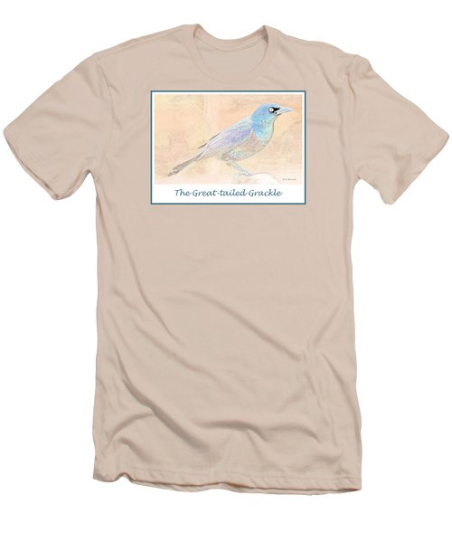 Men's T-Shirt (Slim Fit) featuring the digital art Great Tailed Grackle by A Gurmankin