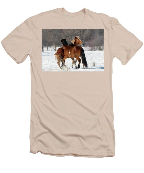 Men's T-Shirt (Slim Fit) featuring the photograph Horseplay by Mike Dawson