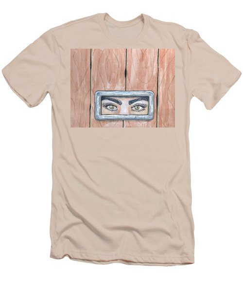 Men's T-Shirt (Slim Fit) featuring the painting I See You by Edwin Alverio
