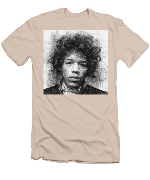 Men's T-Shirt (Athletic Fit) featuring the drawing Jimi Hendrix by Taylan Apukovska