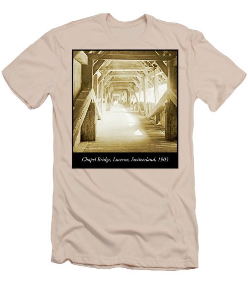 Kapell Bridge, Lucerne, Switzerland, 1903, Vintage, Photograph Men's T-Shirt (Athletic Fit)