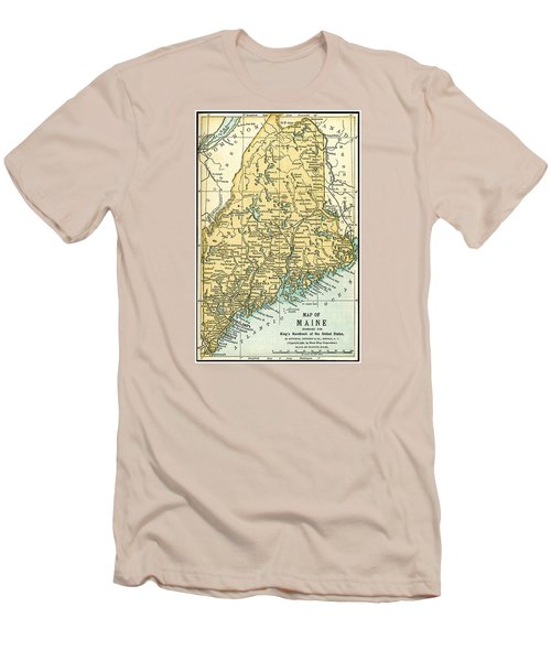 Maine Antique Map 1891 Men's T-Shirt (Slim Fit) by Phil Cardamone